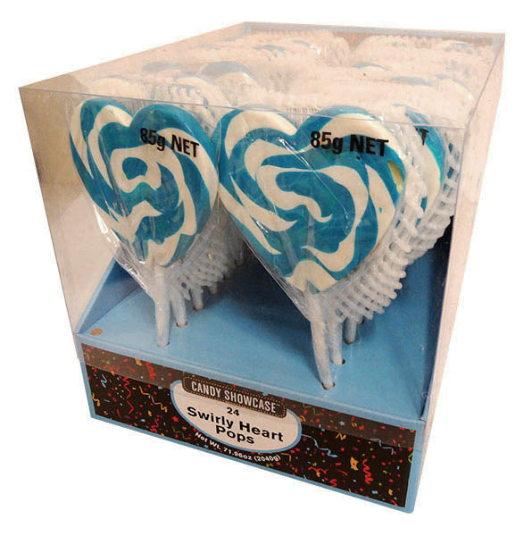 CANDY SHOWCASE - BLUE SWIRLY HEART POP 85G