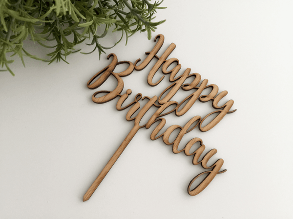 Kelly's Cake Toppers - MINI Happy Birthday fancy - Bamboo (Wood)