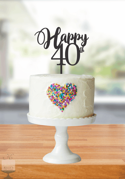 Kelly's Cake Toppers - Happy Age - 40- Black