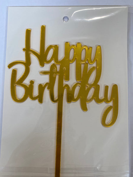 Acrylic Cake Topper - Happy Birthday -Gold