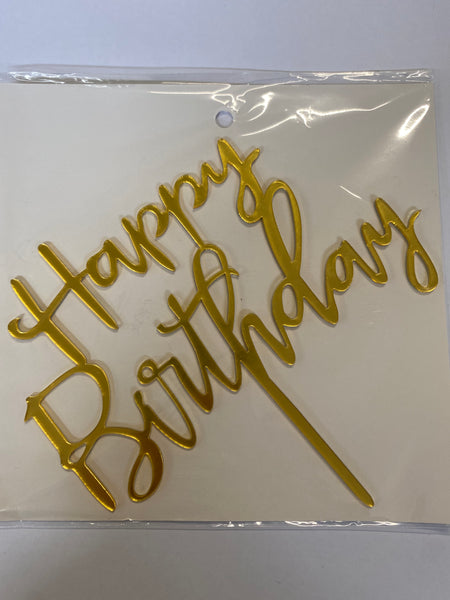 Acrylic Cake Topper - Happy Birthday 5 - Gold