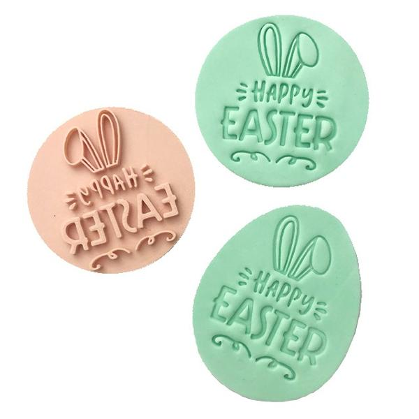 Custom Cookie Cutters - Little Biskut Happy Easter Embosser