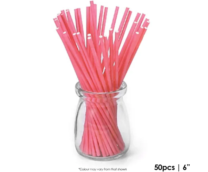 CAKE CRAFT | 6 INCH LOLLIPOP STICKS | CORAL | PACK OF 50
