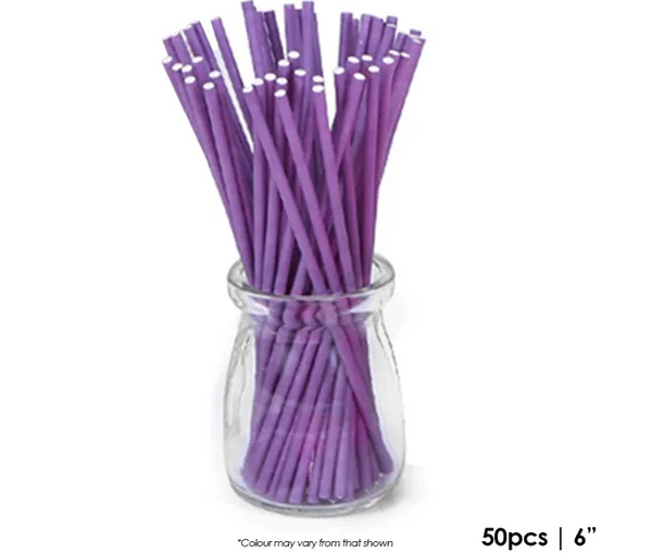 CAKE CRAFT | 6 INCH LOLLIPOP STICKS | PURPLE | PACK OF 50