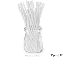 CAKE CRAFT | 8 INCH LOLLIPOP STICKS | WHITE | PACK OF 25