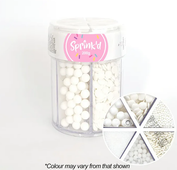 SPRINK'D | 6 CAVITY JAR | SUGAR BALLS/JIMMIES/SEQUINS/SANDING SUGAR | WHITE | 200G