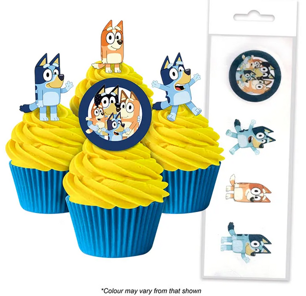BLUEY | EDIBLE WAFER CUPCAKE TOPPERS | 16 PIECE PACK
