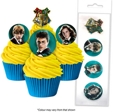 HARRY POTTER | EDIBLE WAFER CUPCAKE TOPPERS | 16 PIECE PACK