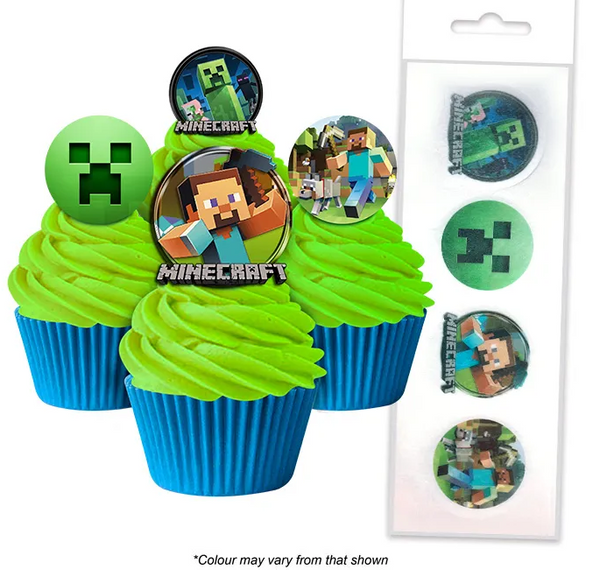 MINECRAFT | EDIBLE WAFER CUPCAKE TOPPERS | 16 PIECE PACK