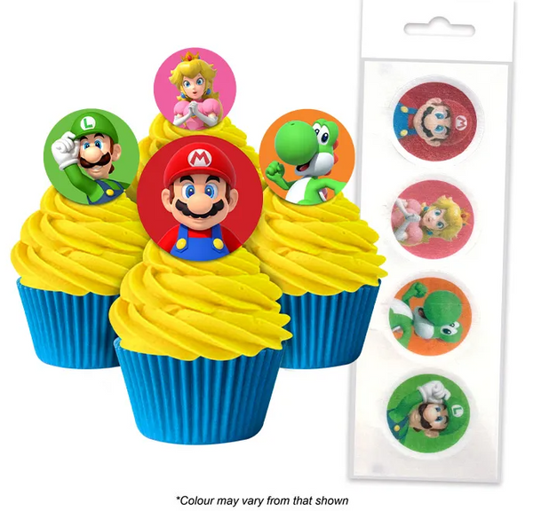 SUPER MARIO BROS | EDIBLE WAFER CUPCAKE TOPPERS | 16 PIECE PACK