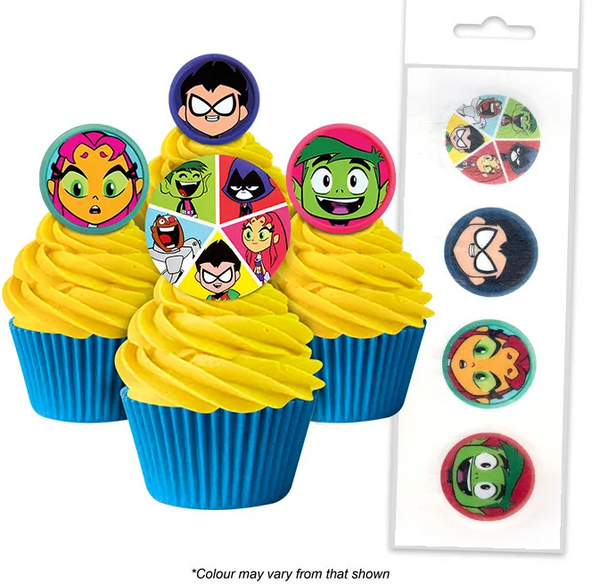 TEEN TITANS | EDIBLE WAFER CUPCAKE TOPPERS | 16 PIECE PACK