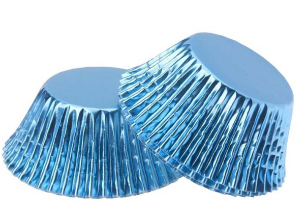 Foil Cupcake Cups Blue x 25 Pack