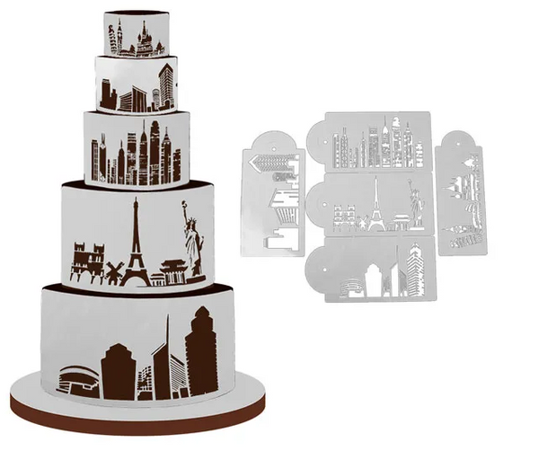 CITY SKYLINE LANDSCAPE STENCIL SET | 5 PIECES