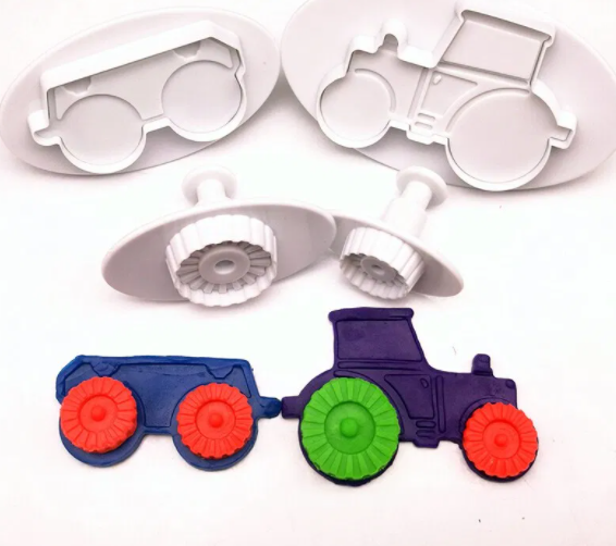 Dough Plunger Cutters - Tractor Set