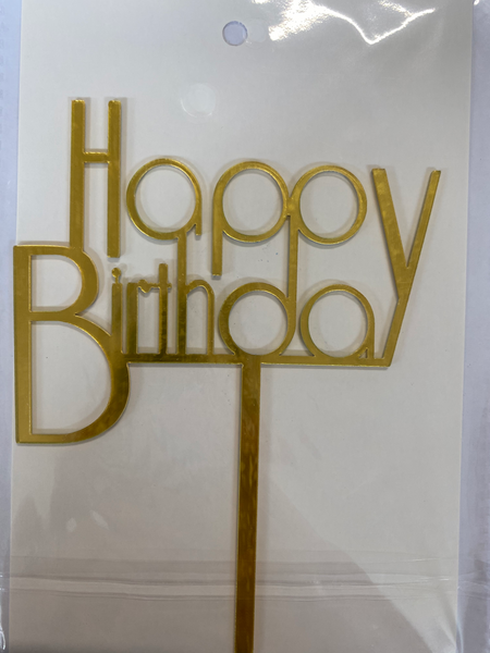 Acrylic Cake Topper - Happy Birthday 1 - Gold