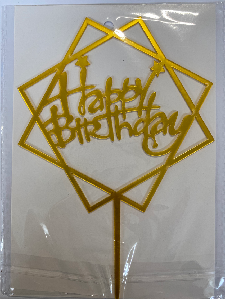 Acrylic Cake Topper - Happy Birthday in Squares with Stars - Gold