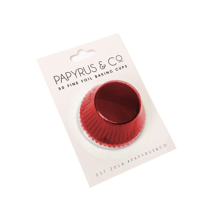 STANDARD RED FOIL BAKING CUPS (50 PACK) - 50MM BASE