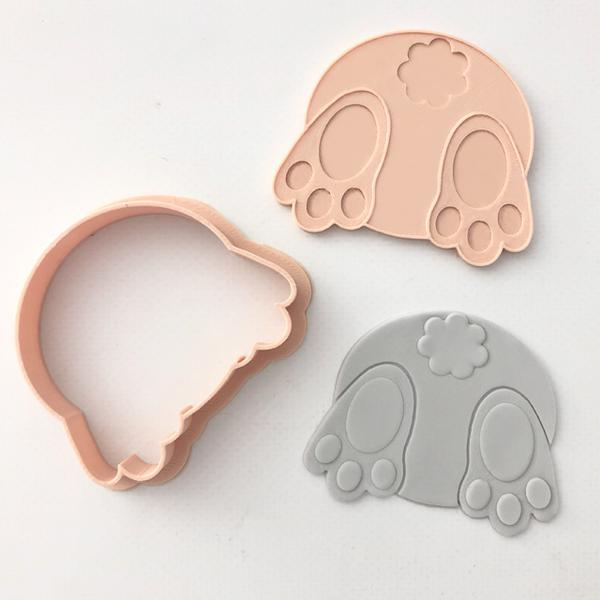 Custom Cookie Cutters - Little Biskut Bunny Bum Cutter & Embosser Set