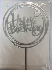 Acrylic Cake Topper - Happy Birthday in Circles with Hearts - Silver