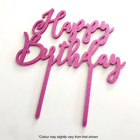 HAPPY BIRTHDAY PINK GLITTER ACRYLIC CAKE TOPPER