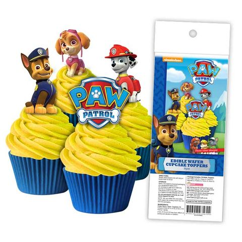 PAW PATROL | EDIBLE WAFER CUPCAKE TOPPERS | 16 PIECE PACK