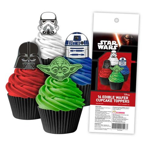 STAR WARS EDIBLE WAFER CUPCAKE TOPPERS - 16 PIECE PACK