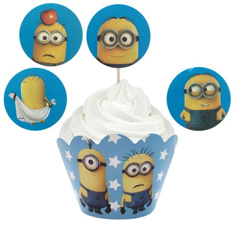 MINIONS - WRAP & TOPPER SET - 12 CUPCAKES