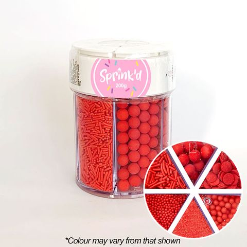 SPRINK'D | 6 CAVITY JAR | SUGAR BALLS/JIMMIES/SEQUINS/SANDING SUGAR | RED | 200G