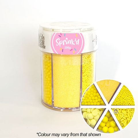 SPRINK'D | 6 CAVITY JAR | SUGAR BALLS/JIMMIES/SEQUINS/SANDING SUGAR | YELLOW | 200G