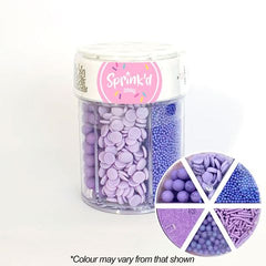 SPRINK'D | 6 CAVITY JAR | SUGAR BALLS/JIMMIES/SEQUINS/SANDING SUGAR | SOFT PURPLE | 200G