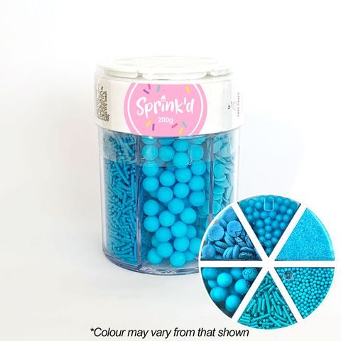 SPRINK'D | 6 CAVITY JAR | SUGAR BALLS/JIMMIES/SEQUINS/SANDING SUGAR | BRIGHT BLUE | 200G