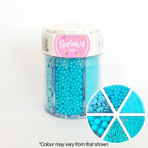 SPRINK'D | 6 CAVITY JAR | SUGAR BALLS/JIMMIES/SEQUINS/SANDING SUGAR | PASTEL BLUE | 200G