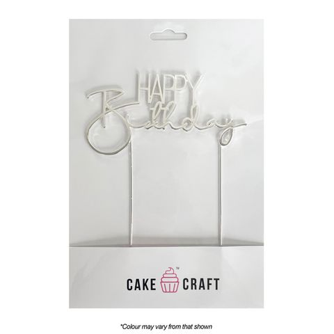 CAKE CRAFT | METAL TOPPER | HAPPY BIRTHDAY STYLE #3 | SILVER