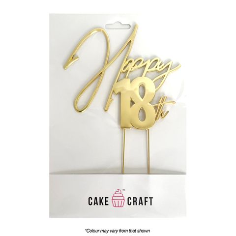 CAKE CRAFT | METAL TOPPER | HAPPY 18TH | GOLD | 12CM