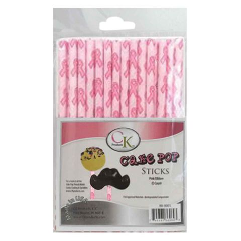 CAKE POP STICKS | 6 INCH | PINK RIBBON