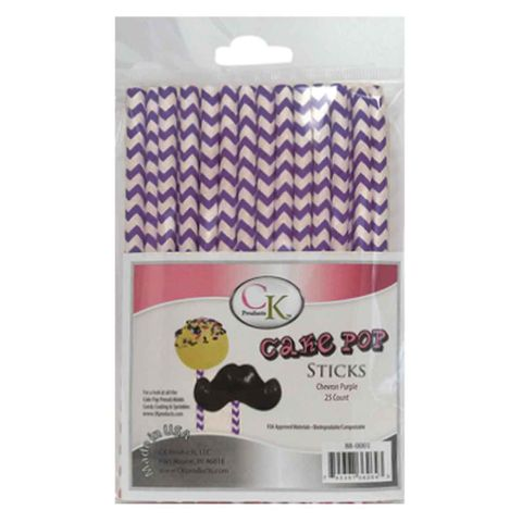 CAKE POP STICKS | 6 INCH | CHEVRON PURPLE