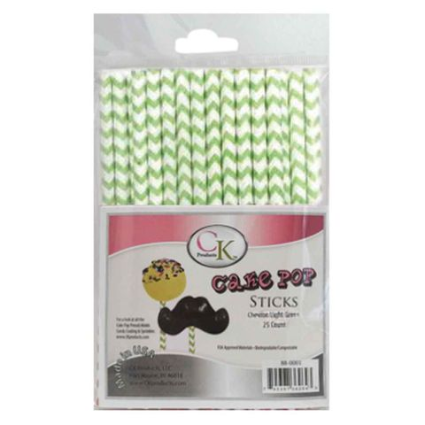 CAKE POP STICKS | 6 INCH | CHEVRON LIGHT GREEN