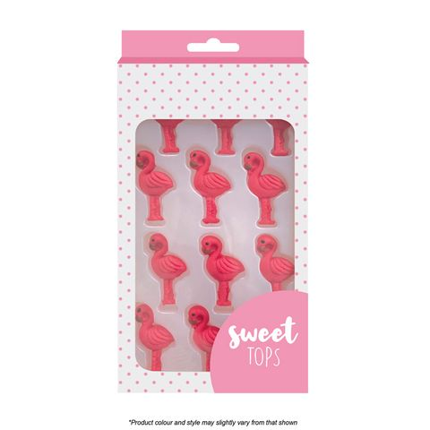 SWEET TOPS | FLAMINGO | ICING DECORATIONS | 12 PIECES