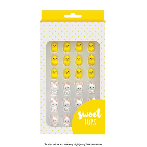 SWEET TOPS | BUNNY & CHICK | ICING DECORATIONS | 24 PIECES