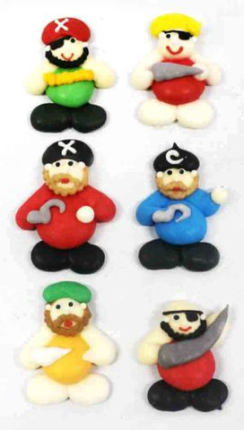 PIRATES MINI FLAT - SUGAR DECORATIONS- 6PK