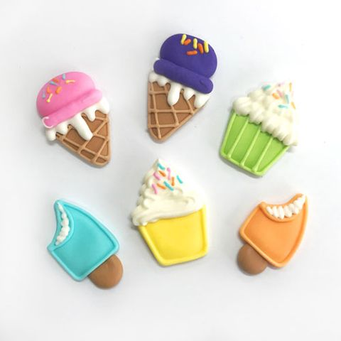 CUPCAKE & ICE CREAM  | SUGAR DECORATIONS - 6PK