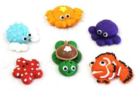MINI SEA ANIMALS  - SUGAR DECORATIONS - 6pk