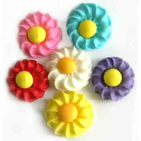DAISY SWIRL SUGAR FLOWERS ASSORTED - 6PK