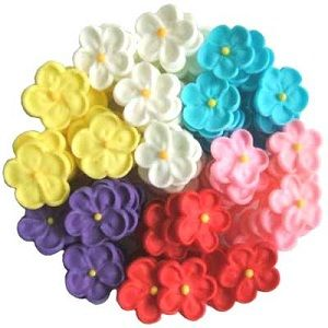 SMALL 5 PETAL SUGAR FLOWERS ASSORTED - 12PK