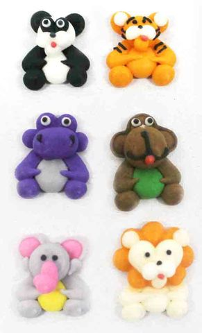 MINI SAFARI ANIMALS ASSORTED  - SUGAR DECORATIONS - 6PK