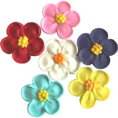 LARGE 5 PETAL SUGAR FLOWERS ASSORTED - 6PK