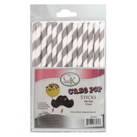 CAKE POP STICKS | 6 INCH | SILVER STRIPE