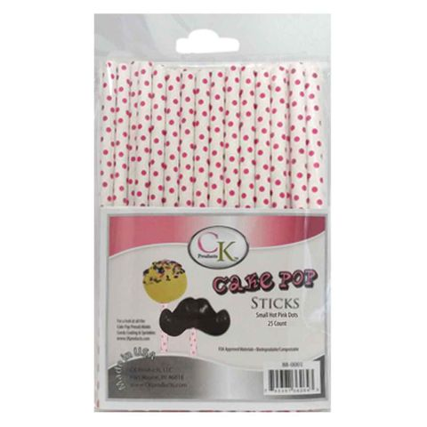 CAKE POP STICKS | 6 INCH | DOTS HOT PINK