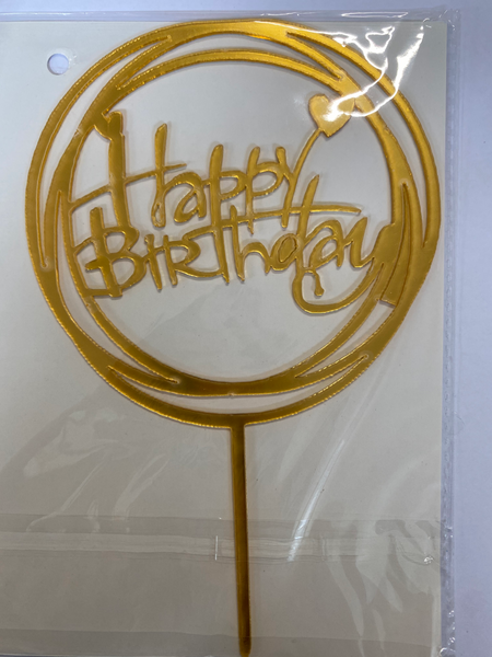 Acrylic Cake Topper - Happy Birthday in Circles with Hearts- Gold