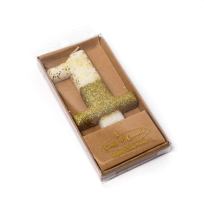 8CM GOLD GLITTER DIPPED CANDLE - NUMBER 1